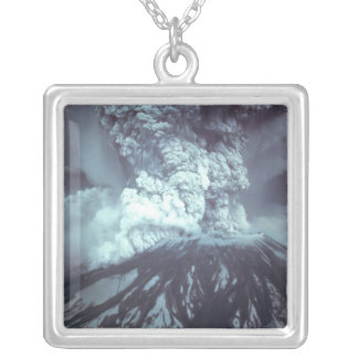 Eruption of Mount Saint Helens Stratovolcano 1980 Square Pendant Necklace