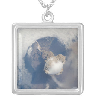 Eruption of Sarychev volcano 2 Silver Plated Necklace