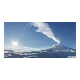 Eruption volcano in Kamchatka Peninsula. Russian Custom Photo Card