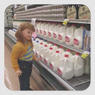 E's Shopping for Milk. Square Stickers