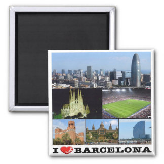 ES - Spain - Barcelona - I Love - Collage Mosaic Square Magnet