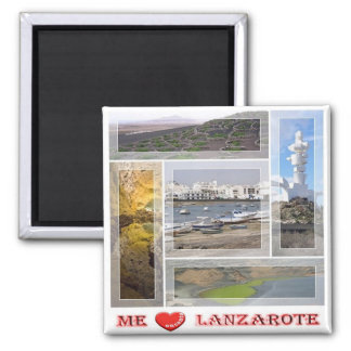 ES - Spain - Lanzarote - I Love - Collage Mosaic Square Magnet