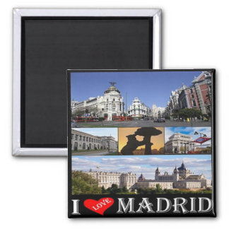 ES - Spain - Madrid - I Love - Collage Mosaic Square Magnet