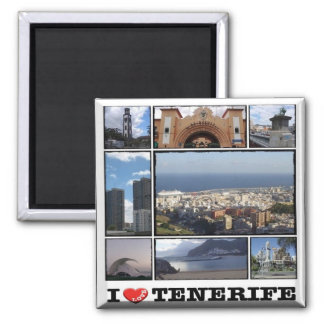 ES - Spain - Tenerife Santa Cruz I Love - Collage Square Magnet