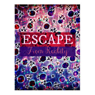 ESCAPE FROM REALITY Typography Purple Art Hipster Postcard