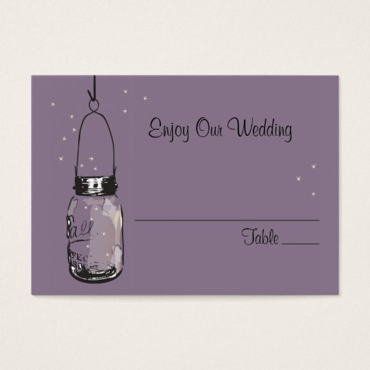 Escort Seating Card Fireflies & Mason Jar