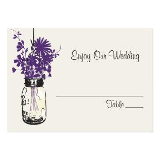 Escort Seating Card Wild Flowers & Mason Jar Business Cards