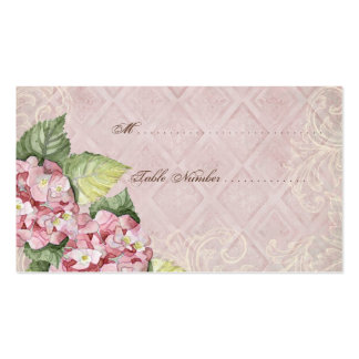 Escort Table Number Cards - Pink Hydrangea Swirl Business Cards