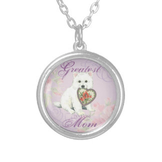 Eskie Heart Mom Silver Plated Necklace
