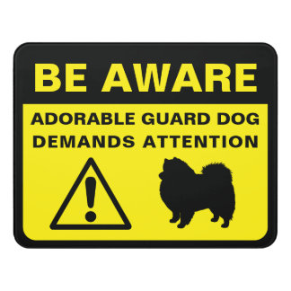 Eskie Silhouette Funny Guard Dog Warning Sign