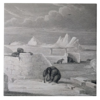 Eskimaux building a Snow-Hut, from 'Journal of a S Tile