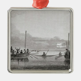 Eskimaux Coming Towards Boats in Shoalwater Christmas Ornament