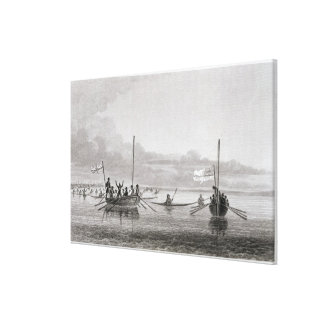 Eskimaux Coming Towards the Boats in Shoalwater Ba Canvas Print
