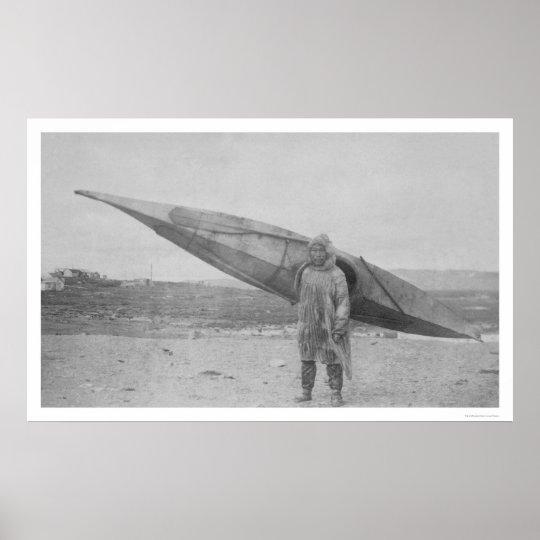 Eskimo Carrying Kayak 1909 Poster