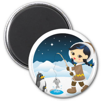 Eskimo girl 6 cm round magnet
