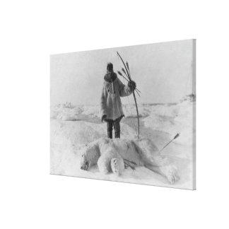 Eskimo Hunter with Polar Bear Photograph Canvas Print