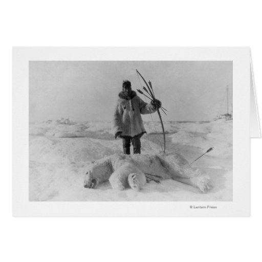 Eskimo Hunter with Polar Bear Photograph Greeting Cards