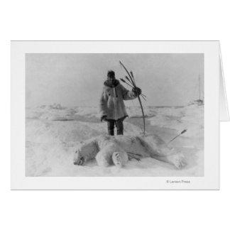 Eskimo Hunter with Polar Bear Photograph Greeting Card