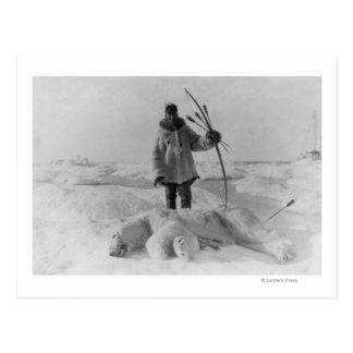 Eskimo Hunter with Polar Bear Photograph Postcard