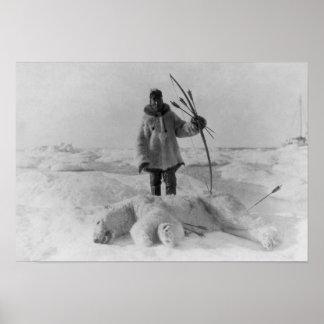 Eskimo Hunter with Polar Bear Photograph Poster