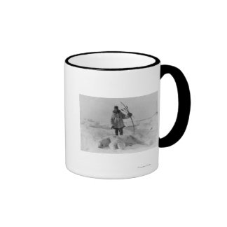 Eskimo Hunter with Polar Bear Photograph Ringer Mug