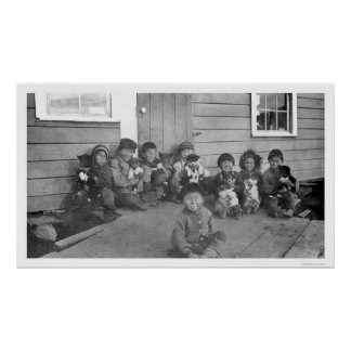 Eskimo Kids Puppies 1904 Print
