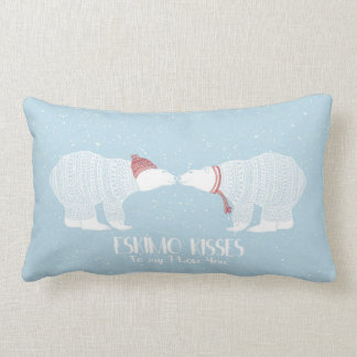 Eskimo Kiss Scandinavian Polar Bear Winter Love Lumbar Cushion
