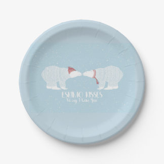 Eskimo Kiss Scandinavian Polar Bear Winter Love Paper Plate