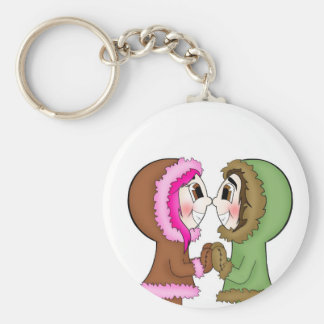 eskimo kisses basic round button key ring