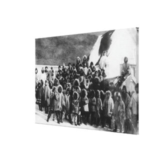 Eskimo School Children in Alaska Photograph Canvas Print