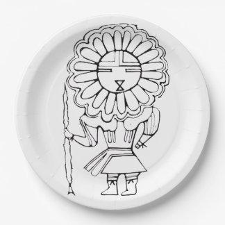 Eskimo Sun God party plate. 9 Inch Paper Plate