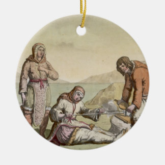 Eskimos, 1817 (colour engraving) christmas ornament