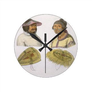 Eskimos from North America (colour engraving) Round Clock