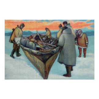 Eskimos Launching Whaling Boat Poster