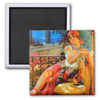 Esme, vintage fortune teller square magnet