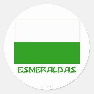 Esmeraldas flag with Name Round Sticker