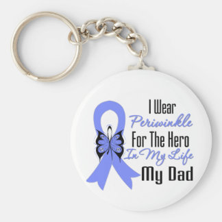 Esophageal Cancer Ribbon Hero My Dad Basic Round Button Key Ring