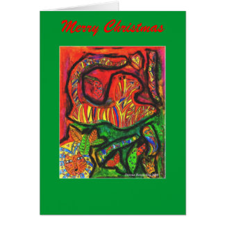 Esoteric Jungle copy, Merry Christmas Greeting Card