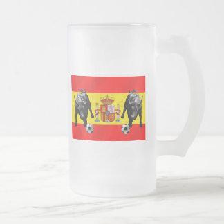 España La Furia Roja futbol Toro Flag of Spain Frosted Glass Beer Mug