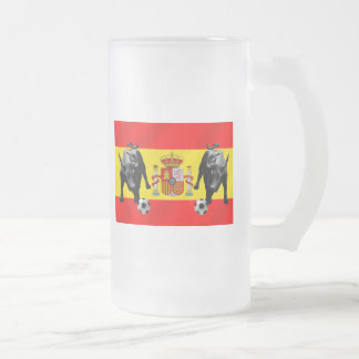 España La Furia Roja futbol Toro Flag of Spain Frosted Glass Mug