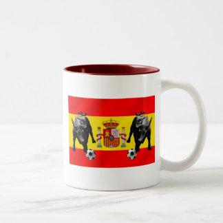 España La Furia Roja futbol Toro Flag of Spain Coffee Mugs