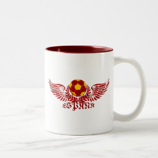 Espana winged soccer ball logo emblem gifts Two-Tone mug
