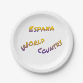 Espana world country, colorful text art paper plate