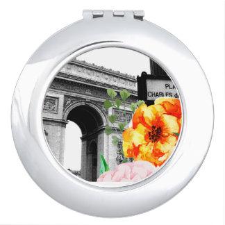 Espelho Paris e Flores Makeup Mirror