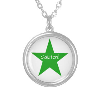 Esperanto: Saluton Silver Plated Necklace