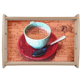 Espresso Cup and Spoon Word Cloud Serving Tray