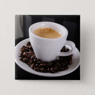 Espresso cup on black granite counter 15 cm square badge