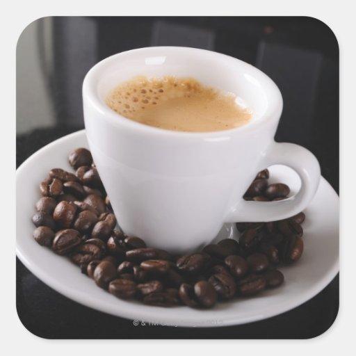 Espresso cup on black granite counter square sticker