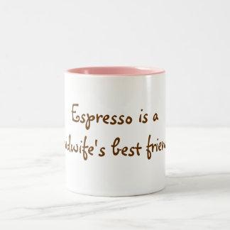 Espresso is a midwife's best friend! Two-Tone coffee mug