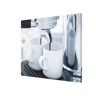 Espresso machine making coffee canvas print